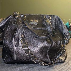 Coach leather gunmetal satchel